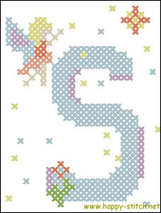 Fairy alphabet S cross stitch pattern