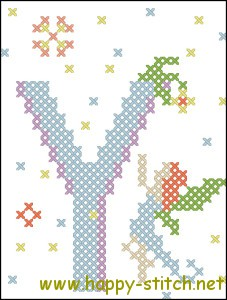 Fairy alphabet letter Y cross stitch pattern
