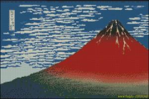 Бесплатная схема для вышивки крестом Красная Фудзи