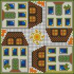 "<!--:en-->Tall houses cushion pattern<!--:--><!--:ru-->Схема для вышивки ""Городок""<!--:-->"