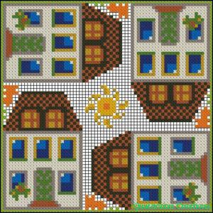 Квадратная схема для вышивки Городок