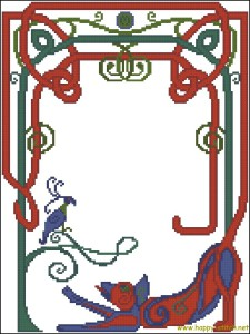 The Kells cat free cross stitch pattern
