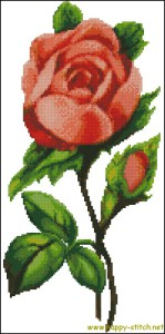 Vintage pink rose free cross stitch pattern