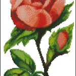 Pink vintage rose cross stitch pattern