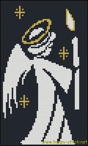 Схема для вышивки крестиком Ангел со свечой