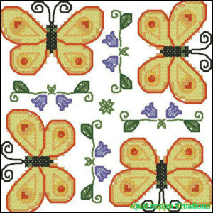 Butterflies biscornu cross stitch pattern by Happy Stitch