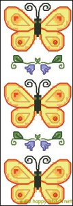 Схема для вышивки крестиком закладки - Бабочки и колокольчики