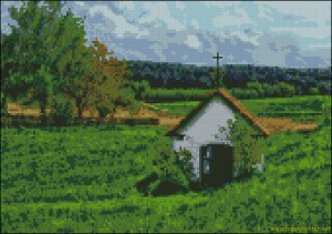 A little church in the fields cross stitch pattern