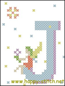 Fairy Alphabet J free cross stitch pattern