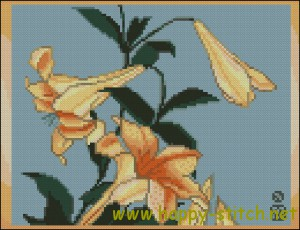 Hokusai Lilies free cross stitch pattern by Happy Stitch
