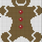 Gingerbread man free cross stitch pattern by HappyStitch