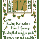 St Patrick's Day vintage postcard free cross stitch pattern by Happy Stitch