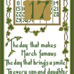 St Patrick's Day vintage postcard free cross stitch pattern by Happy Stitch