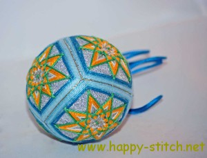 Blue and green temari