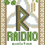 Raidho rune (the Quest) cross stitch pattern
