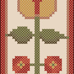 Folk art flower cross stitch bookmark pattern