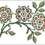 Folk roses cross stitch pattern (after William Morris)