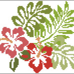 Hibiscus flowers cross stitch pattern