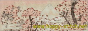 Mount Fuji Seen Through Cherry Blossom free pattern