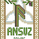 Rune Ansuz (Odin's breath) cross stitch pattern