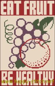 Схема для вышивки винтажного плаката Ешьте фрукты