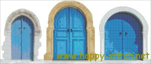 Three blue doors cross stitch pattern