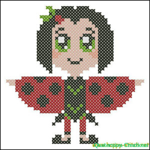 Chibi ladybird cross stitch pattern