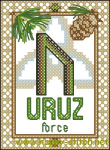 Uruz rune free cross stitch pattern by Happy Stitch