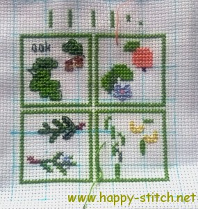 Miniature trees cross stitching project
