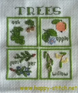 Mini trees postcard stitching