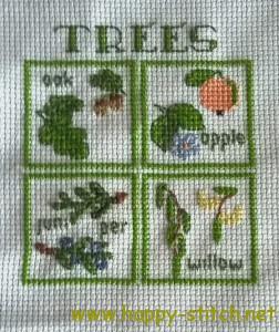 Mini trees postcard stitching
