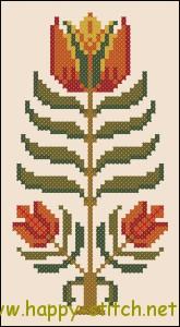 Цветок в стиле фолк - бесплатная схема для вышивки