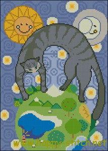 Great cat mother cross stitch pattern
