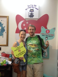 Me and my husband at Singapore cat museum