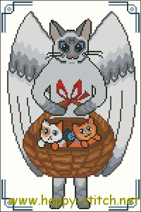 Cat angel cross stitch pattern