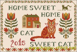 Folk cat sampler cross stitch pattern