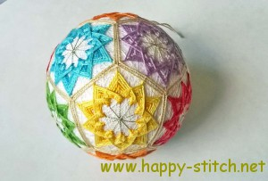 Rainbow colored temari