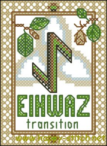 Eihwaz rune free cross stitch pattern