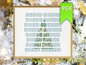 Merry Christmas binary cross stitch design