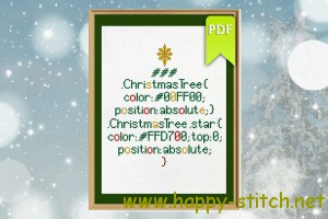 CSS christmas tree cross stitch design
