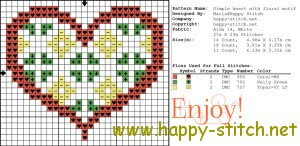 Simple heart with a floral motif free cross stitch design
