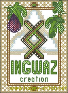 Ingwaz rune free cross stitch pattern by happy-stitch.net