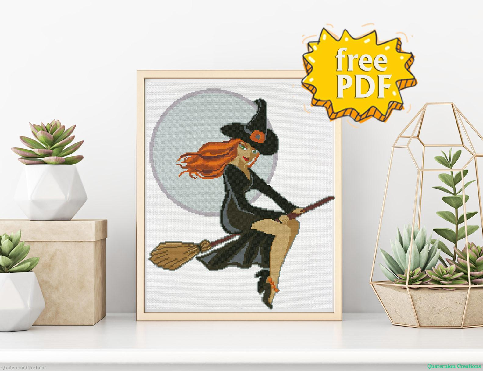 Cute Redhair Halloween with cross stitch pattern