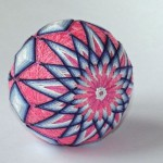 Pink and blue kiku temari