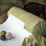 Three temari balls (and a cat)