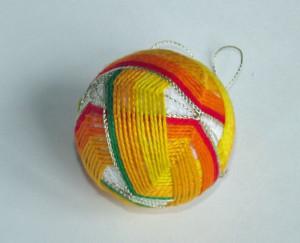 Yellow, red and green temari