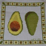 Avocado cross stitch