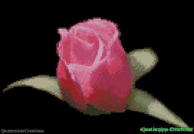 Pink rose on black cross stitch chart