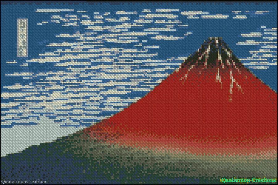 Fine Wind, Clear Morning (Red Fuji) free cross stitch pattern