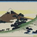 Hokusai Inume Pass (Fuji) cross stitch chart